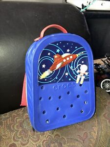 Crocs Blue Kids MiniBackpack White & Black Zipper Red Strap Space Edition
