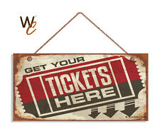 Retro CINEMA Sign, Get Your Tickets Here, Movie Theater Decor 5 x 10 Wood Sign