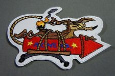 WILE E. COYOTE on ACME ROCKET #2 Embroidered Iron-On Patch - 4""