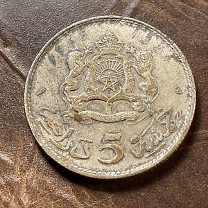 1965 (1384) Morocco 5 Dirhams Silver Coin - Hassan II