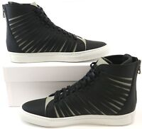 Cipher Radial Matt Black Silver Men's Leather High Top Trainers Sneakers Shoes