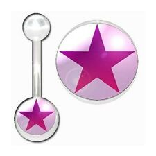 Belly Bar Banana Navel Piercing, Body Jewellery White, Pink Star