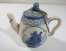 NINI Hand Painted Caneware Miniature Teapot Trinket Box w/ Romanesque face