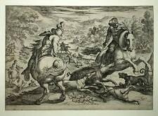 Gravure originale ANTONIO TEMPESTA tirée LA CHASSE au sanglier tirage original