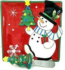 Fitz & Floyd Merry & Bright Snowman Snack Plate W/Spreader Charcuterie Nib
