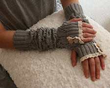 Winter Button Arm Warmers Lady Lace Knit Fingerless Gloves Xmas Arm Warmer Gifts
