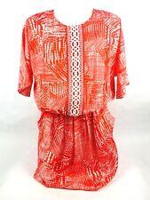 Indikka Women's Dress Medium Short Sleeve Red White Short Sleeve Pockets (OL2