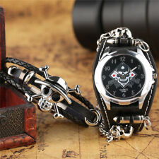 Trendy Punk Skull Chain Gothic Style Bullet Rock Quartz Men Wrist Watch Bracelet