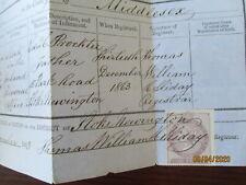 ANTIQUE ORIGINAL BIRTH CERTIFICATE STOKE NEWINGTON MIDDLESEX PROCKTER 1863