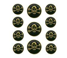 11 pc Jolly Roger Skulls Metal Blazer Jacket Coat Button Set Gold / Black Color