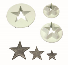 PME Set of 3 S/M/L STAR Plastic Icing Cut Out Cutters Sugarcraft Cake Decorating