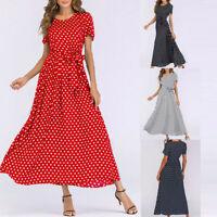 Fashion Women O-Neck Short Sleeve Beach Polka Dot Bandage Long Maxi Dress P