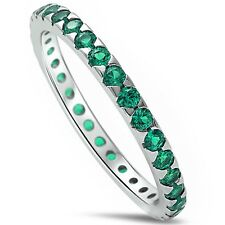 Green Emerald Eternity Band .925 Sterling Silver Ring Sizes 4-11