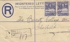 SIERRA LEONE:1933 GV 2d brown REGISTERED Envelope size F  H&G C4  used to UK