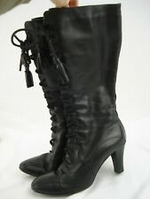 Black Leather Victorian Brogue Lace up Boots Heels Steampunk Gothic Witch UK 5