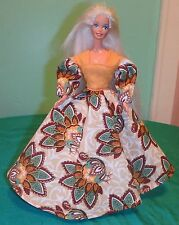 Turkeys on Tan Swirls Thanksgiving or Autumn Gown for Barbie Doll HT30