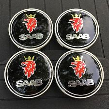 SAAB NEW (SET OF 4) (64mm/2.5IN) CROWN BLACK  WHEEL CENTER CAPS 9/2-7 WC4PC526