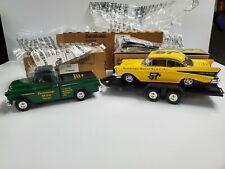 Ertl Collectibles 1955 Chevy Pickup 1957 Chevy Car w/ Trailer 1995 Vintage Nib