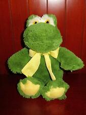 Gingham Frog Animal Adventure Green Yellow Bow Plush Stuffed Animal 2008 Toy 12""