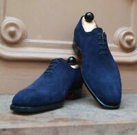 Chaussures à lacets Oxford en daim bleu véritable pour hommes faits à la main