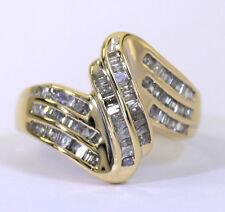 Diamante ondulado anillo oro amarillo 82 juego canal barritas .60CT 5.4 gram