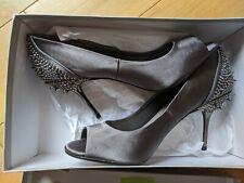 BRAND NEW CARVELA GREY satin spikes PEEPTOE HEELS 4 37 with replacement heels