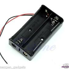 Black Plastic Storage Box Case Holder For Battery 2x AA With Wire Leads