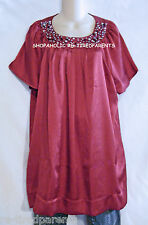 FRED DAVID - TOP - TUNIC - RED – PEARLS & CRYSTAL TRIM – PLUS SIZE 1X – NWT $34