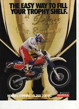1986 HONDA XR250RG & XR200RG 2 page Motorcycle Brochure NOS