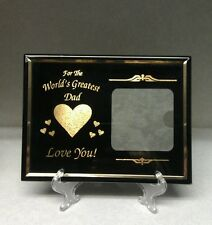 Worlds Greatest Dad Picture Frame Metal Black Gold Mom Dads  Contemporary
