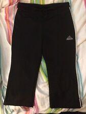 Adidas Cropped Running/exercise Pants Sz8-10 Black w' White Trim
