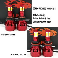 4 Bulbs Kit H11 9005 6000K LED 2080W 312000LM Combo Set Headlight High Low Beam