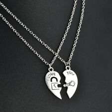 2PCS/Set WOMEN I Love You Heart Lock & Key Couple Necklace Pendant Chain Gift