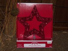Christmas Lighted Red Mesh Wire Tinsel Cut Out Star Silhouette Tree Topper Light