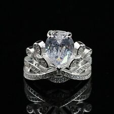 Ring Silver Plated 300 Crown Cz Bright Vintage Marriage Class N4 Adjustable