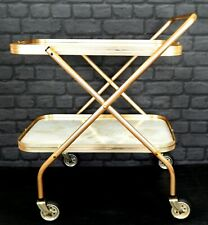Vintage 1960s Retro Gold & Marble Effect Cocktail Drinks Tea Hostess Trolley