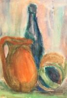 Vintage watercolor painting fauvist still life with jugs and bottle