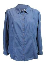 Denim Classic Collar Semi Fitted Tops & Shirts for Women