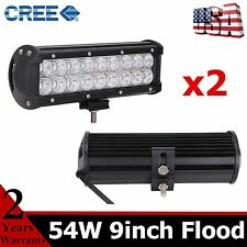 """2PCS 54W 9in CREE Led Light Bar FLOOD Beam For Jeep Trailer Off road UTE RZR 10"""""""