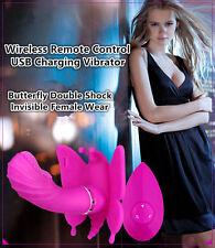 Female Wearable Butterfly Wireless Remote Control Double Shock Vibrator in Panty