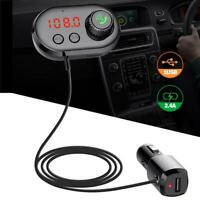 Car FM Transmitter Bluetooth Wireless Handsfree MP3 Player USB Charger Kit Black