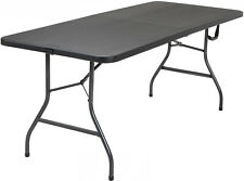 Heavy Duty Folding Table 6 Foot Dining Eating 8 People Capacity Centerfold Black