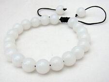 Men's Shambhala bracelet all 10mm Genuine Natural White Jade Gems Round Beads