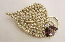 Vintage Dodds Seeded Pearls & Ladybug Rhinestone Leaf Brooch Pin