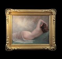 Original antique oil painting on canvas, nude reclining lady , French 20th
