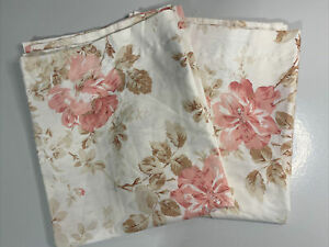 LAUREN RALPH LAUREN KING SIZE PILLOW SHAM SET 2 ivory pink roses victorian EUC