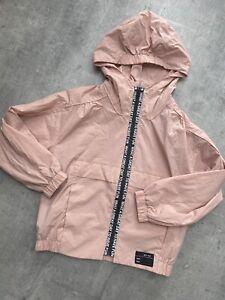 Zara Girls Light Weight Jacket Age 8 Years Hood Pink Rain Coat Fun