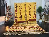 "Boujad Handmade Tribal Moroccan Rug 6'2""x10'8"" Geometric Yellow Berber Wool Rug"