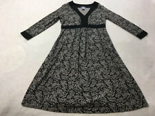 Gap Maternity XS Black Gray Tropical Palm Leaf Floral Dress 3/4 Sleeve Stretch