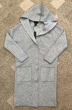 Womens Tahari 100% Cashmere Hooded Long Sweater Coat Gray/Cream Stripe XS